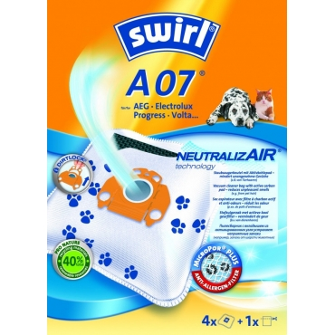 Swirl NeutralizAir A07/4 AEG Electrolux,Σακούλα Σκούπας με Αντιαλλεργικό Φίλτρο MicroPor PLUS