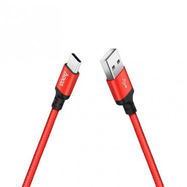 Hoco Braided USB 2.0 Cable USB-C male - USB-A male Κόκκινο 1m (X14)