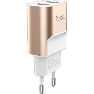 Hoco 2x USB Wall Adapter Χρυσό (C47A Metal)