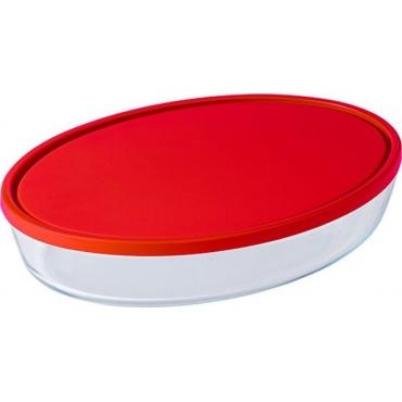 Pyrex Δοχεία Φαγητού Γυάλινο Οβάλ Κόκκινο OCUISINE 327230