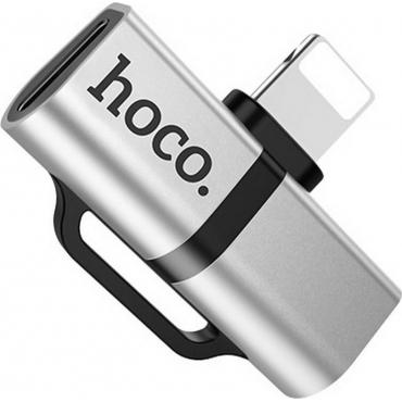 Hoco Lightning male - Lightning / USB-C female Silver (LS20)