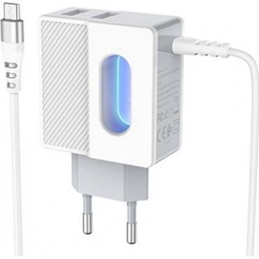 Hoco micro USB Cable & 2x USB Wall Adapter Λευκό (C75)