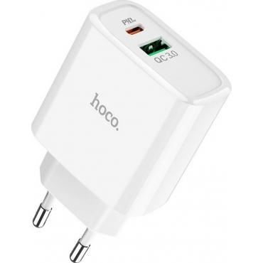 Hoco USB / USB-C Wall Adapter Λευκό (C57A Speed)