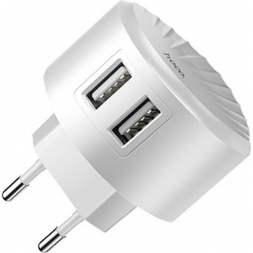 Hoco 2x USB Wall Adapter Λευκό (C67A)
