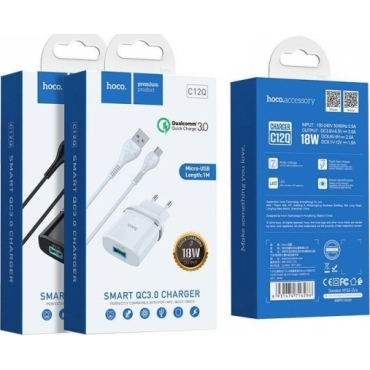 Hoco micro USB Cable & USB Wall Adapter Λευκό (C12Q)