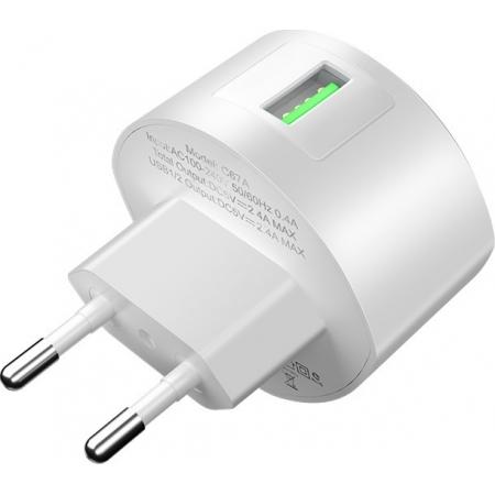 Hoco USB Wall Adapter Λευκό (C68A Shell)