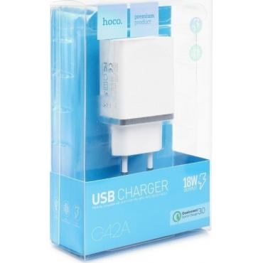 Hoco USB Wall Adapter Λευκό (C42A)