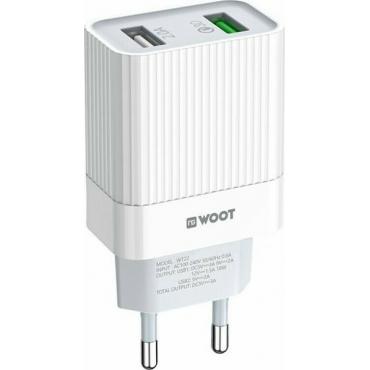 NG 2x USB-A Wall Adapter Λευκό (WT22)