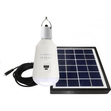 Eurolamp Ηλιακό Πάνελ με Λαμπτήρα Led Ε27 7W & έξοδο USB