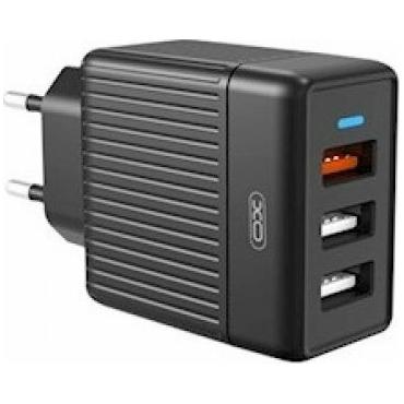 XO 3x USB-A Wall Adapter Μαύρο (L58) Black