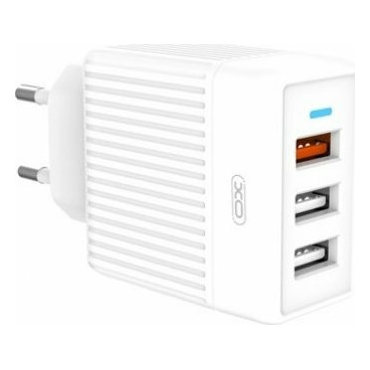 XO 3x USB-A Wall Adapter Λευκό (L58) White