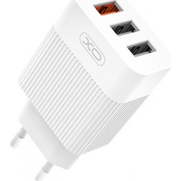 XO 3x USB-A Wall Adapter Λευκό (L72)