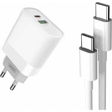 XO USB-C Cable & USB-A/USB-C Wall Adapter Λευκό (L64)