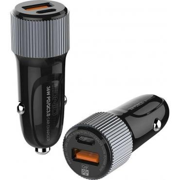 Ldnio C510QT Διπλός Φορτιστής Αυτοκινήτου & Καλώδιο Type-C Μαύρο/Γκρι