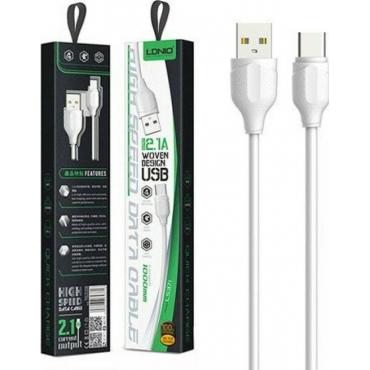 Ldnio LS372 Braided USB 2.0 Cable USB-C male - USB-A male Λευκό 1m (LD-LS372T)
