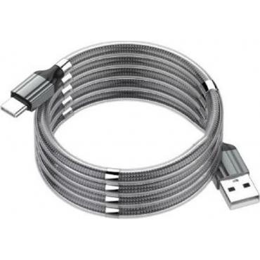 Ldnio Braided / Magnetic USB 2.0 Cable USB-C male - USB-A female Γκρι 1m (LS491)